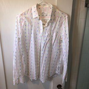 Colorful long sleeve boyfriend button down shirt